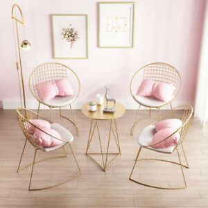 Modern Gold Round Mesh Metal Backrest Lounge Chairs Cafe Resturant Dinning Seats