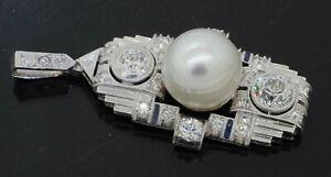 Heavy antique Art Deco Platinum 1.89CTW VS/F diamond/10.8mm pearl pendant