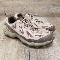 Columbia D Storm Women's Trail Hiking Shoe Tan Leather Purple Lace Up Size 8