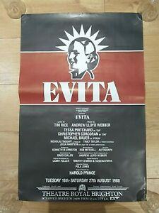 Original Vintage Evita The Musical Poster - Theatre Royal Brighton 1988