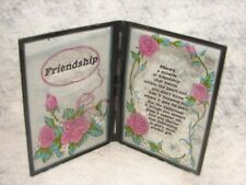 Vintage Retro Glass Rose Friendship Plaque With Verse ~  Gift for Friend