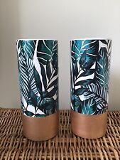 Pair Of Tropical Green & Gold Palm Leaf Botanical Ceramic Vases Decorative