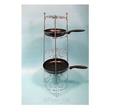 5 Tier Apollo Chrome Plated Saucepan Fry Pan Pot Stand Rack Storage