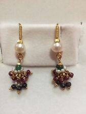 22kt.Gold Earrings French Hook Dangle Pearls Beautiful Handmade In India 7 Grams