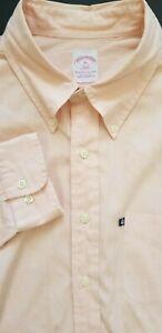 BROOKS BROTHERS 346 Men Regular Fit Long Sleeve Polo Dress Shirt - XL - Orange