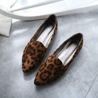 Fashion Womens Leopard Print Shoes Pointy Toe Slip On Flats Driving Pumps Casual