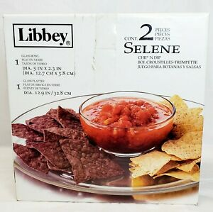 Libbey Glass Bowl/Platter Chips And Salsa Set