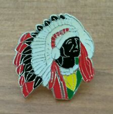 INDIAN HEAD DRESS ☆ Metal ☆ RARE Pin Badge  ☆ MULTI Colour