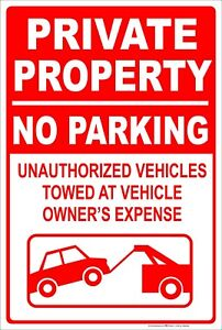 "Private Property No Parking Tow Away 8"" x 12"" Aluminum Metal Sign"