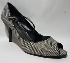 PREDICTIONS Black White Mary Jane Pump Heels Shoe Wmns 10 M Peep Toe Houndstooth