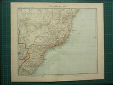 1907 DATED MAP ~ EASTERN SOUTH AMERICA BRAZIL SAO PAULO PARAGUAY