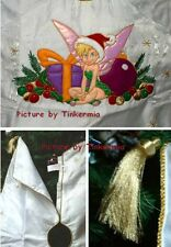 DISNEY'S RETIRED TINKER BELL 2002 WHITE WITH GOLD TRIM EMBROIDERED TREE SKIRT