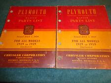 1929-1939 PLYMOUTH MASTER PARTS CATALOG SET / 2 VOLUME ORIGINAL BOOK SET 38 37+