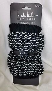 Nicole Miller Sweater Knit LegWarmers Boots One Size OS Black White Striped NWT