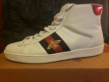 MEN'S GUCCI WHITE HIGH TOP SNEAKERS SIZE 8.5