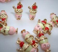 10 Ice-Cream Sunday Rhinestone Enamel Bracelet Charm/Bead/Jewelry/beading EK5