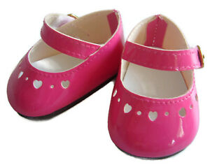 """Hot Pink Patent Dress Shoes made for 18"""" American Girl Doll Accessories"""