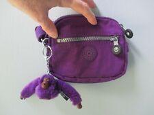 "Kipling Deep Purple Small Crossbody Shoulder Bag Key Ring Bag Charm Monkey ""JO"""
