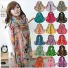 Fashion Women's Cotton Linen Beautiful Rural Style Flower Long Silk Scarf Shawl