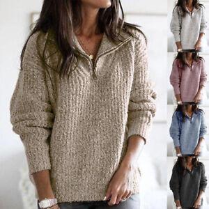 Women Autumn Shirt Ladies Knitted Long Sleeve Loose Tee Zipper Basic Blouse Tops