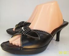 Cole Haan Womens US 10 B Black Leather Buckle Slip-On Heels Open Toe Sandals
