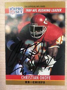 CHRISTIAN OKOYE 1990 PRO SET #9 AUTOGRAPHED CARD CHIEFS