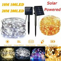 100/200LED Solar Fairy String Lights Copper Wire Outdoor Party Xmas Garden Decor