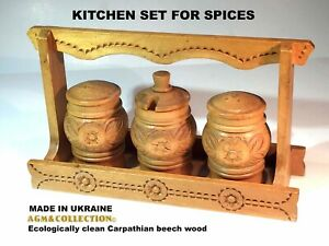 KITCHEN SET FOR SPICES / Ecologically clean Carpathian beech wood / Handmade