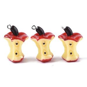 10pcs Apple Core Resin Fruit Pendants Red Cute Dangle Charms Ornament 30~32mm
