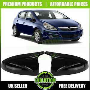 VAUXHALL CORSA D 2006-2014 PIANO Black Wing Mirror Caps Covers M Style