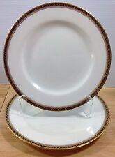 Antique Spode Copeland Majestic 2 Dinner Plates Gold Cobalt Chain Dots 1900s