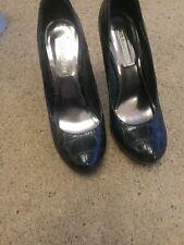 Black High Heel crocodile skin effect shoes size 4 La Strada