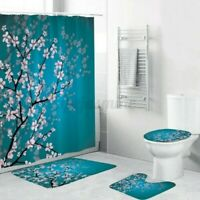 4Pcs/Set Badezimmer Blüten Wasserfest Duschvorhang Wc Abdeckung Matte Teppich