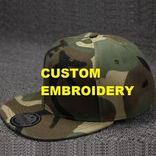 Create Your Custom Personalised Embroidery Camo FLAT Brim SNAPBACK Cap Hat