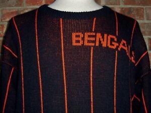 VINTAGE 90's CINCINNATI BENGALS NFL CLIFF ENGLE PINSTRIPE SWEATER MEDIUM RARE!