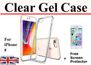 For iPhone 8 Thin TPU Gel Jelly Clear Phone Back Case & Free Screen Protector