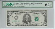 US PAPER MONEY FIVE DOLLAR 1969 PMG 64 PHILADELPHIA