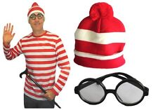 Adult Mens Wally Full Costume Set Striped Shirt Glasses Beanie Hat Dress Up New