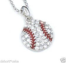 Let's Play Ball! New Baseball Silver Tone Crystal Pendant Necklace Base-46