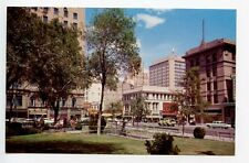 El Paso TX Alligator Plaza Park Woolworth's Store Fronts Old Cars Postcard