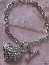 SILV-TOGGLE BRACELET WITH  CRYSTAL HEART CHARM-0272