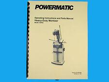 Powermatic Model 720HD Heavy Duty Mortiser Instruct & Parts Manual *302