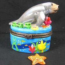 Manatee Ceramic Trinket or Jewelry Box Sealife