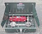 Vintage Coleman Dual 2 Burner Liquid Fuel Gas Camping Stove 425F Used Untested