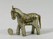 PETIT  CHEVAL  en métal argenté et laiton,  Inde, horse, mondo-cheval