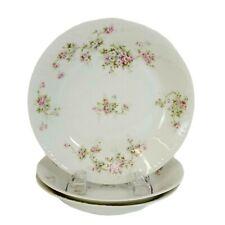 "3pcs Haviland Limoges Coupe Soup Bowls 7.5"" Schleiger 320e Pink White Roses 1903"