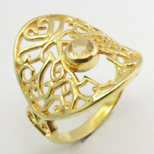 Silver Citrine Celtic Ring Sz 8 Handmade Jewelry Gold Plated 925 Solid