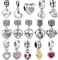 Hot Love Heart charms bead fit 925 silver sterling Snake european bracelet Chain