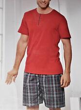 2tlg. HERREN Premium SHORTY Schlafanzug Pyjama kurz Gr.48 50 52 54 rot/grau NEU