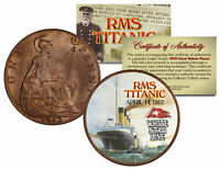 RMS TITANIC * April 14, 1912 * Colorized 1912 Great Britain Penny Coin British